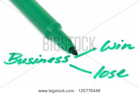 Business win lose concept with sign pen