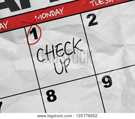 Concept image of a Calendar with the text: Check Up