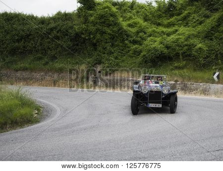 PESARO, ITALY - MAY 15: LANCIA Lambda Torpedo VII serie 1927 on an old racing car in rally Mille Miglia 2015 the famous italian historical race (1927-1957) in May 2015