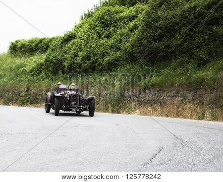 PESARO, ITALY - MAY 15: ALFA ROMEO 8C 2300 Monza 1932 on an old racing car in rally Mille Miglia 2015 the famous italian historical race (1927-1957) in May 2015