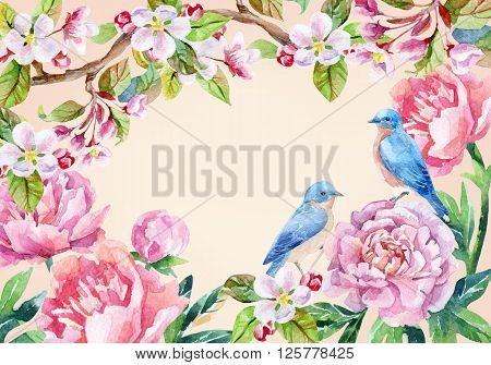 Watercolor floral card and birds. Garden peonies apple bloom and wisteria flowers on vintage background with blue birds. Hand painted illustration