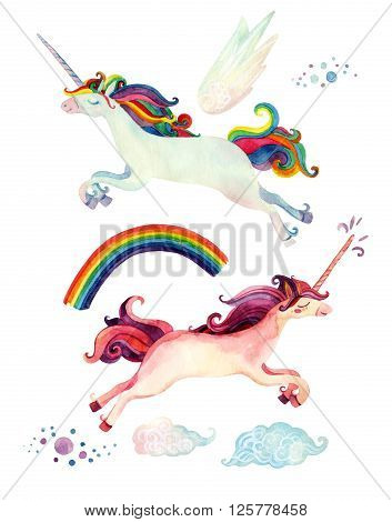 Watercolor fairy tale collection with flying unicorn rainbow magic clouds and fairy wings isolated on white background. Hand painted elements for kids children design