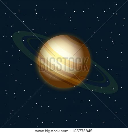 Saturn in a space vector illustration
