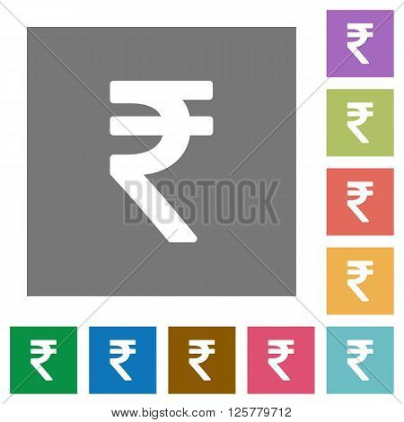 Indian Rupee sign flat icon set on color square background.