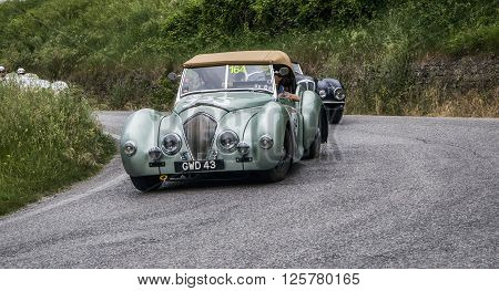 PESARO, ITALY - MAY 15: HEALEY 2400 Westland 1948 on an old racing car in rally Mille Miglia 2015 the famous italian historical race (1927-1957) on May 2015