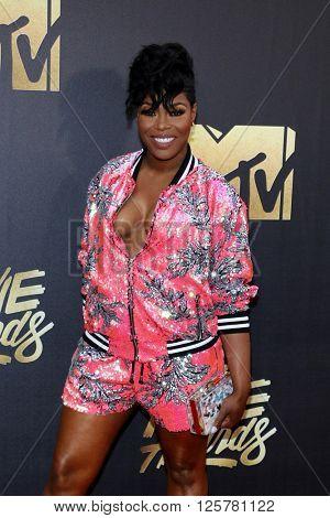 Ta'Rhonda Jones at the 2016 MTV Movie Awards held at the Warner Bros. Studios in Burbank, USA on April 9, 2016.