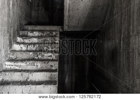 Stair in abandoned building ghost living place darkness horror and halloween background concept
