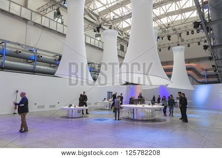 People Visiting Asus Pavilion At Fuorisalone 2016 In Milan, Italy