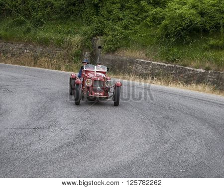 PESARO, ITALY - MAY 15: MASERATI 4 CS 1500 1934 on an old racing car in rally Mille Miglia 2015 the famous italian historical race (1927-1957) on May 2015