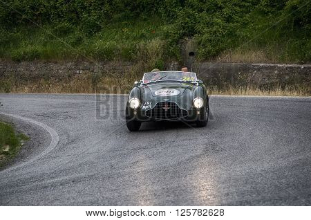 PESARO, ITALY - MAY 15: ASTON MARTIN DB 3S 1952 on an old racing car in rally Mille Miglia 2015 the famous italian historical race (1927-1957) on May 15 2015