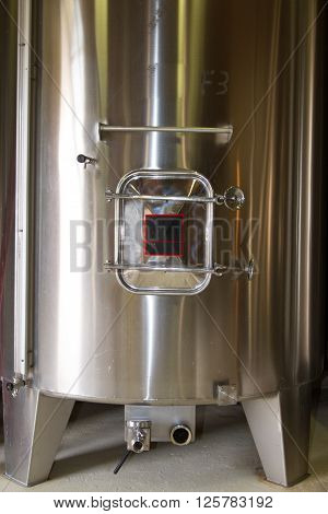 Stainless Steel Fermentation Tanks Vessels Indoor Of A French Winery