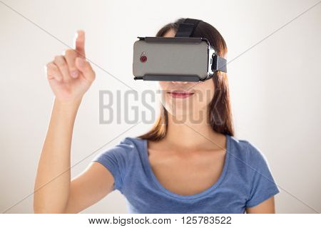 Woman play with virtual reality device