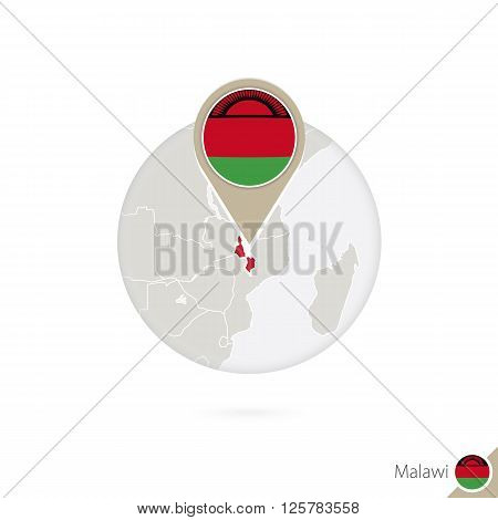 Malawi Map And Flag In Circle. Map Of Malawi, Malawi Flag Pin. Map Of Malawi In The Style Of The Glo