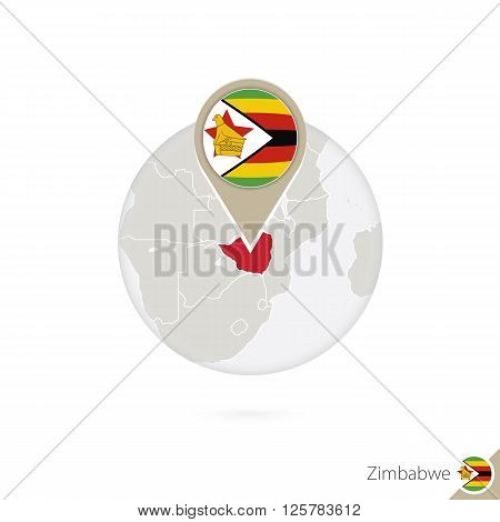 Zimbabwe Map And Flag In Circle. Map Of Zimbabwe, Zimbabwe Flag Pin. Map Of Zimbabwe In The Style Of