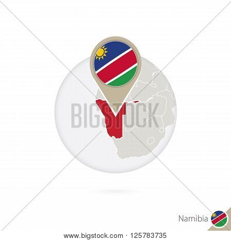 Namibia Map And Flag In Circle. Map Of Namibia, Namibia Flag Pin. Map Of Namibia In The Style Of The