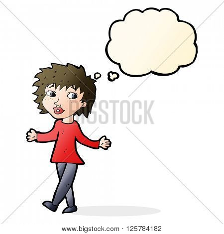 cartoon woman with no worries with thought bubble