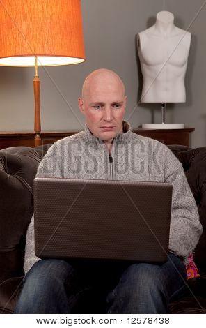 Man Laptop Home Work