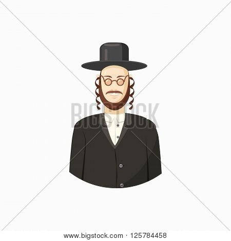 Avatar of Jew man with traditional headdress icon in cartoon style isolated on white background