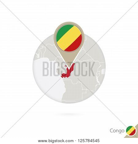 Congo Map And Flag In Circle. Map Of Congo, Congo Flag Pin. Map Of Congo In The Style Of The Globe.