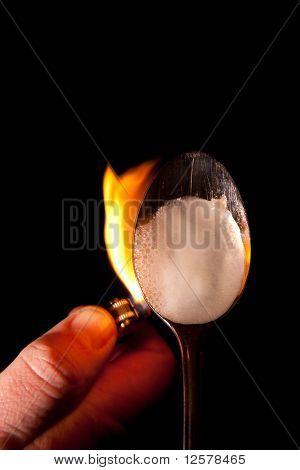 Heroin Spoon Flame Drugs