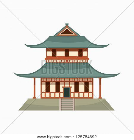 Pagoda icon in cartoon style isolated on white background. Buddhist temple