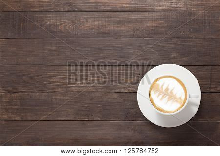 Coffee Cup On Wooden Background. Top View