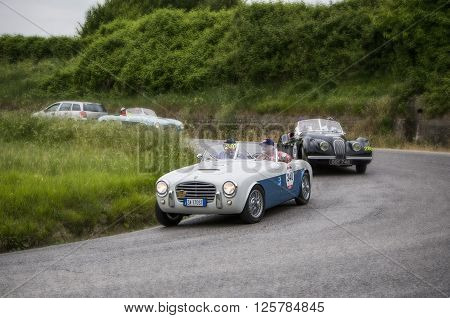 PESARO, ITALY - MAY 15: S.I.A.T.A. Daina Gran Sport Stabilimenti Farina 1952 on an old racing car in rally Mille Miglia 2015 the famous italian historical race (1927-1957) on May 2015