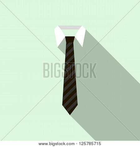 Black striped necktie on a shirt collar icon in flat style on a light blue background