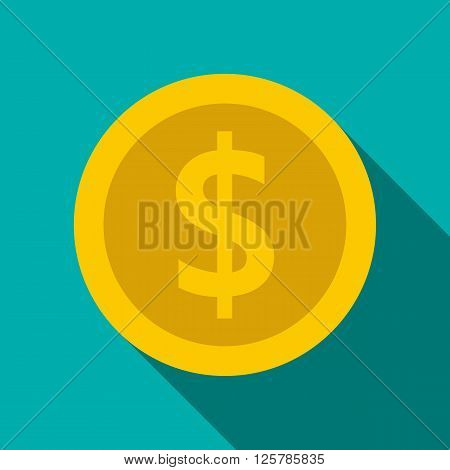 Gold coin with dollar sign icon in flat style on a blue background