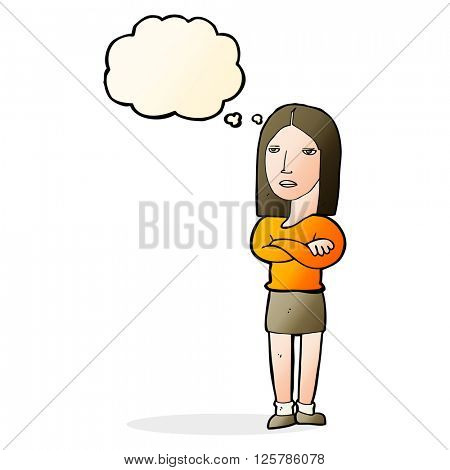 cartoon woman with folded arms with thought bubble