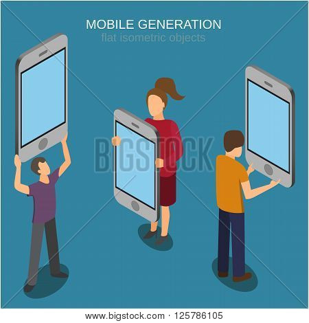 Mobile generation template with people and smart phone touch screen flat 3d web isometric infographic concept vector.