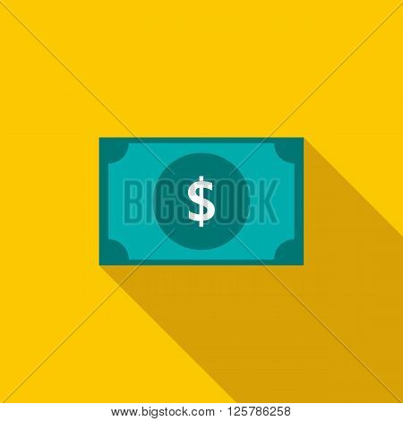 Dollar banknote icon in flat style on a yellow background