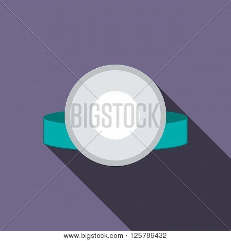 Reflector frontal of otolaryngologist icon in flat style on a violet background