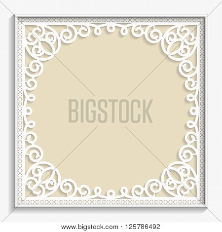 3D Vector bas-relief frame vintage pattern festive pattern white pattern template greetings