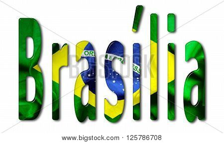 Brasília word with a beveled Brazil flag texture on an isolated white background with a clipping path with and without shadows