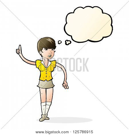 cartoon pretty girl asking question with thought bubble