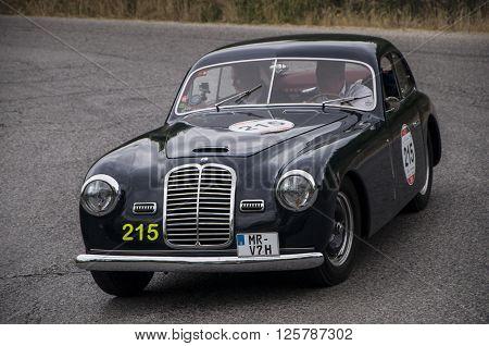 PESARO, ITALY - MAY 15: MASERATI A6 1500 berlinetta Pinin Farina 1950   on an old racing car in rally Mille Miglia 2015 the famous italian historical race (1927-1957) on May 2015