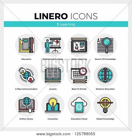 E-learning Linero Icons Set
