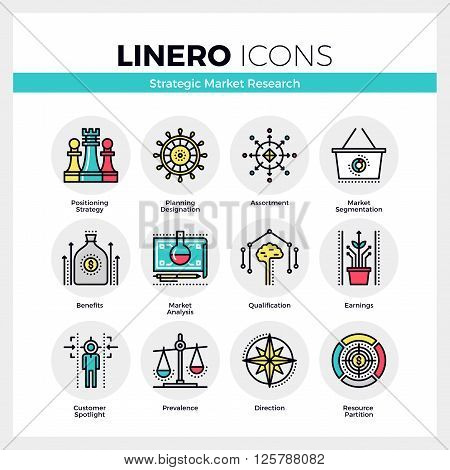 Market Research Linero Icons Set