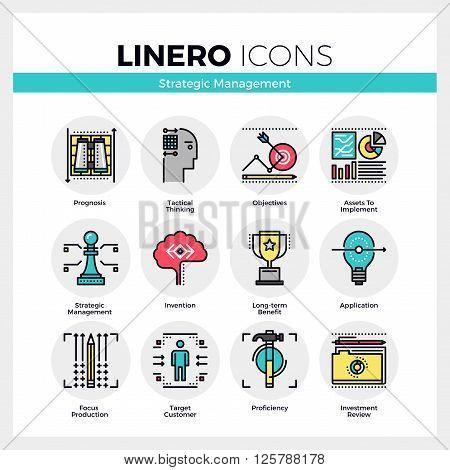Strategic Management Linero Icons Set