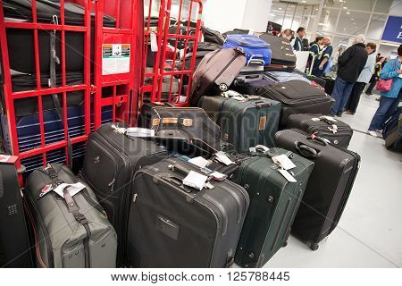 Cruise Terminal Vancouver Canada - May 14 2011: luggage at a cruise terminal or station