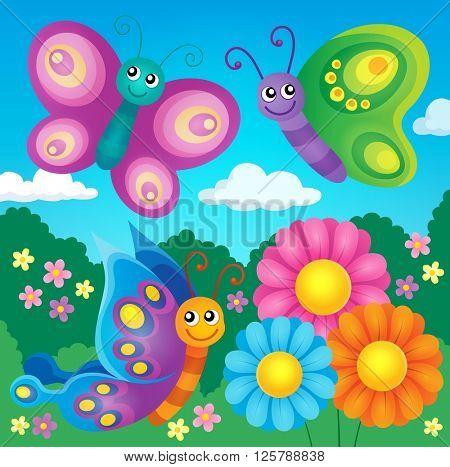 Happy butterflies theme image 4 - eps10 vector illustration.