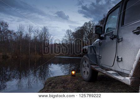 Novgorod region, Russia, Luga River, April 10, 2016 , journey on a Jeep Wrangler in the Novgorod region