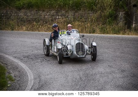 PESARO, ITALY - MAY 15: BENEDETTI Giannini 750 Sport 1948 on an old racing car in rally Mille Miglia 2015 the famous italian historical race (1927-1957) on May 2015