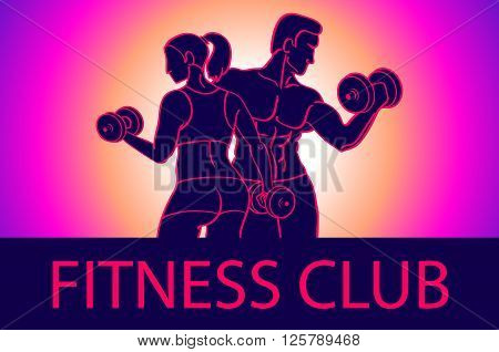 Man And Woman Fitness Template. Gym Club Logotype. Sport Fitness Club Creative Concept. Bodybuilder