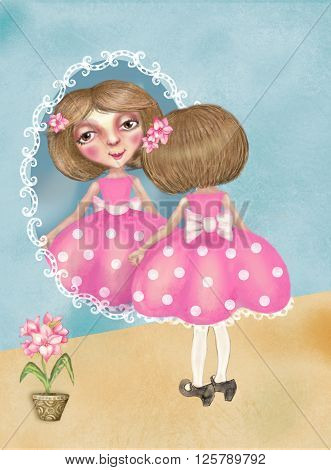 Little pretty girl in her mother's shoes looks in the mirror. Beautiful girl in pink dress with white dots little fashioners pink flower in a pot high heel shoes. Postcard. Interior decor.