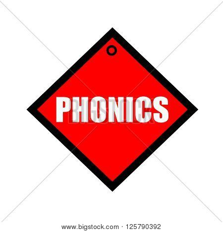 phonics black wording on quadrate red background