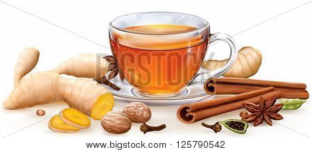Tea witch masala spices on white background. Vector illustration