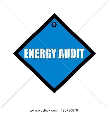 ENERGY AUDIT white wording on quadrate blue background