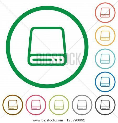 Set of Hard disk drive color round outlined flat icons on white background